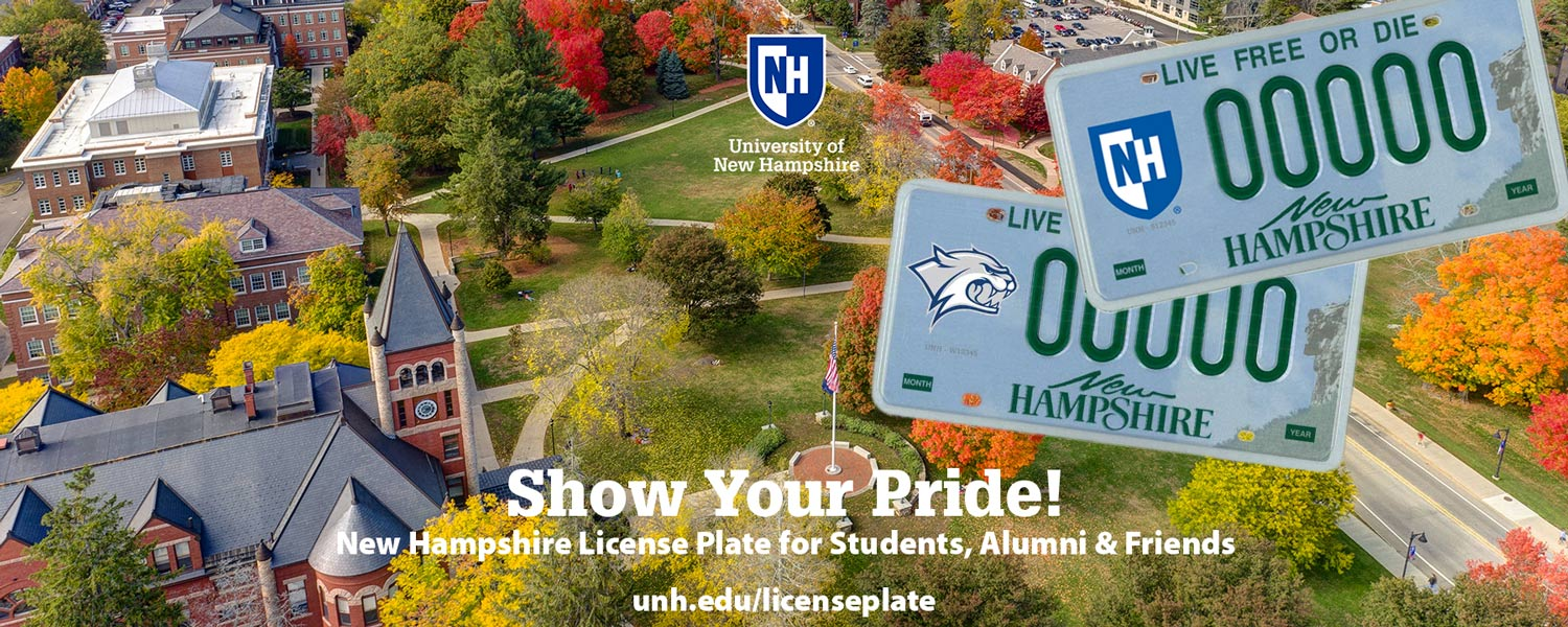 Let them hear you roar. Support NH students and show your Wildcat pride with a UNH decal license plate -- now available online
