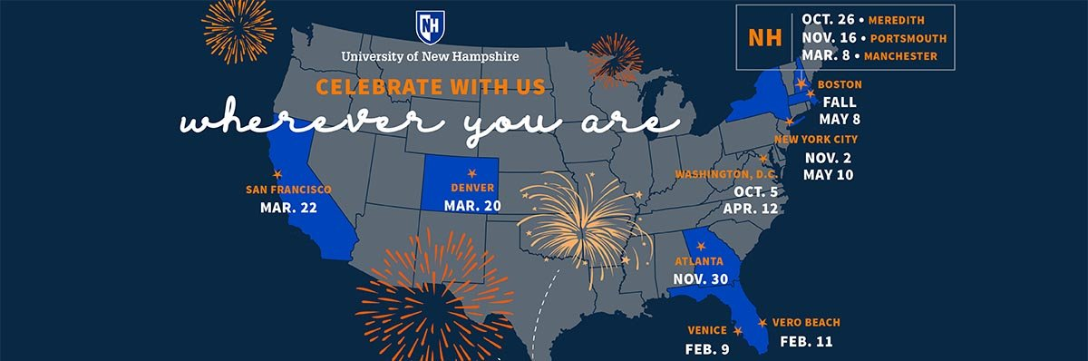 Get ready for a year of fun and fascinating gatherings across the country during the final year of CELEBRATE 150: The Campaign for UNH. FIND AN EVENT NEAR YOU >